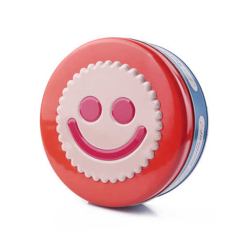 Made in China smiling face small red round shape metal cookie tin box