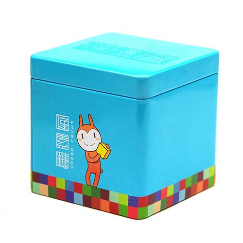 Hot sale cartoon printing custom lovely design square tin box for kids