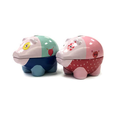 Customized color metal tin coin money saving pink piggy bank form China