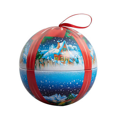 Promotional customs coloful tin box ball shape Christmas tins with ribbon