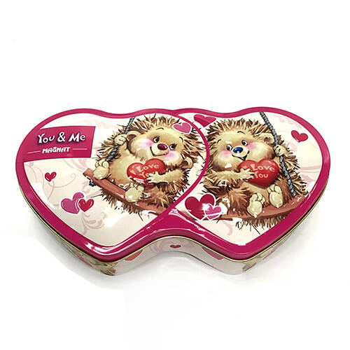 Double Heart Tin Box